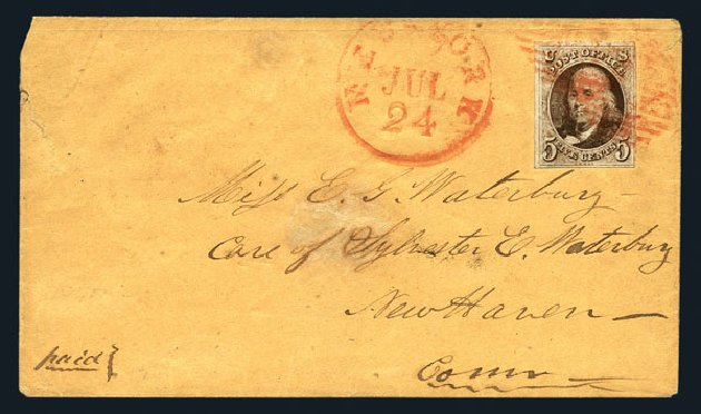 Values of US Stamps Scott Cat. 1: 5c 1847 Franklin. Harmer-Schau Auction Galleries, Aug 2015, Sale 106, Lot 1229
