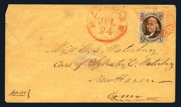 Values of US Stamps Scott Cat. 1: 5c 1847 Franklin. Harmer-Schau Auction Galleries, Aug 2015, Sale 106, Lot 1229