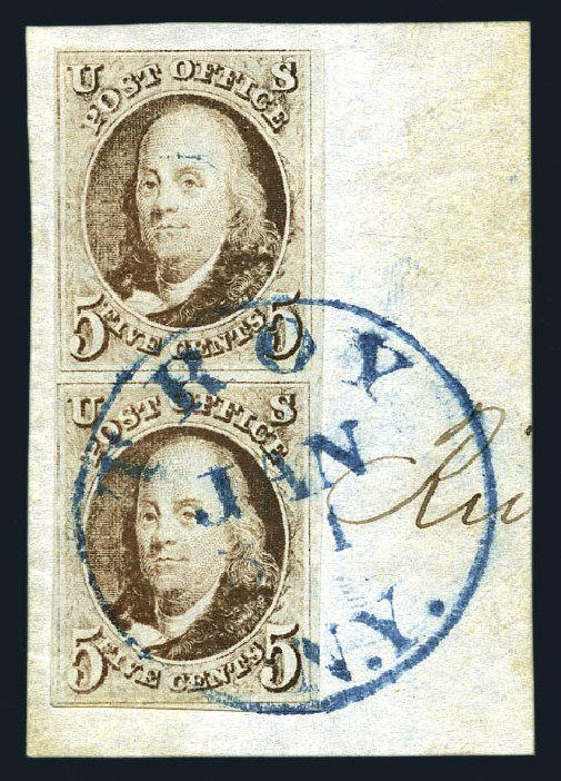 Value of US Stamps Scott Catalogue 1 - 1847 5c Franklin. Harmer-Schau Auction Galleries, Aug 2015, Sale 106, Lot 1220