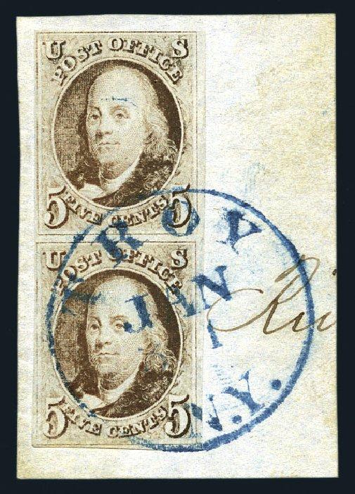 Value of US Stamps Scott Catalogue 1 - 1847 5c Franklin. Harmer-Schau Auction Galleries, Aug 2015, Sale 106, Lot 1220