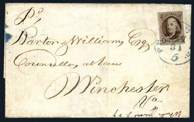 Values of US Stamps Scott # 1 - 1847 5c Franklin. Harmer-Schau Auction Galleries, Aug 2015, Sale 106, Lot 1230