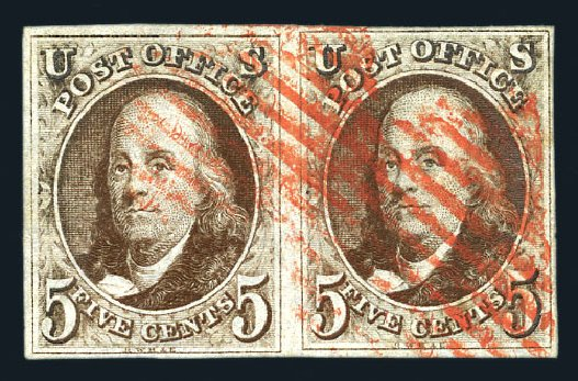 US Stamps Prices Scott Catalog 1: 5c 1847 Franklin. Harmer-Schau Auction Galleries, Aug 2015, Sale 106, Lot 1221