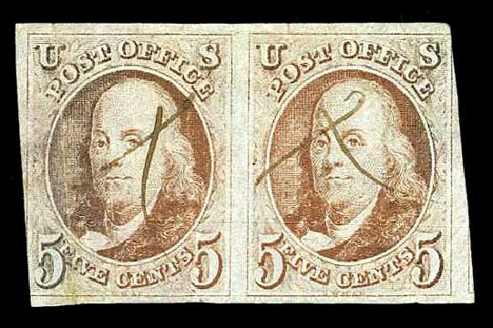 Prices of US Stamps Scott Cat. #1 - 1847 5c Franklin. Harmer-Schau Auction Galleries, Aug 2015, Sale 106, Lot 1224