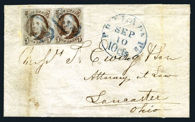 Costs of US Stamps Scott Catalog 1: 1847 5c Franklin. Harmer-Schau Auction Galleries, Aug 2015, Sale 106, Lot 1234