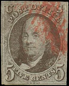 Price of US Stamps Scott Cat. # 1 - 1847 5c Franklin. Regency-Superior, Aug 2015, Sale 112, Lot 34