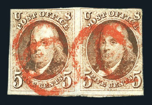 US Stamp Values Scott Catalogue 1: 1847 5c Franklin. Harmer-Schau Auction Galleries, Aug 2015, Sale 106, Lot 1223