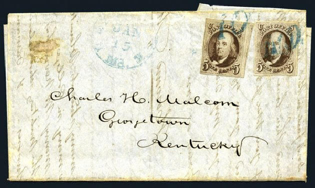 US Stamp Values Scott # 1: 1847 5c Franklin. Harmer-Schau Auction Galleries, Aug 2015, Sale 106, Lot 1233