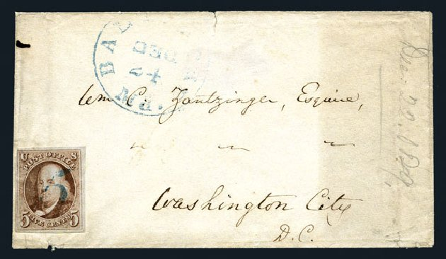 US Stamps Value Scott Catalogue # 1: 5c 1847 Franklin. Harmer-Schau Auction Galleries, Aug 2015, Sale 106, Lot 1226
