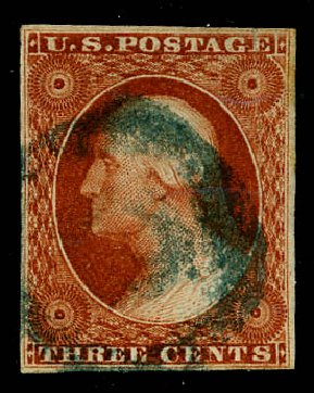 US Stamps Values Scott Catalogue #10: 1851 3c Washington. Daniel Kelleher Auctions, May 2015, Sale 669, Lot 2380