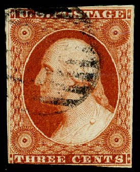 US Stamp Values Scott Cat. 10: 3c 1851 Washington. Daniel Kelleher Auctions, May 2015, Sale 669, Lot 2381