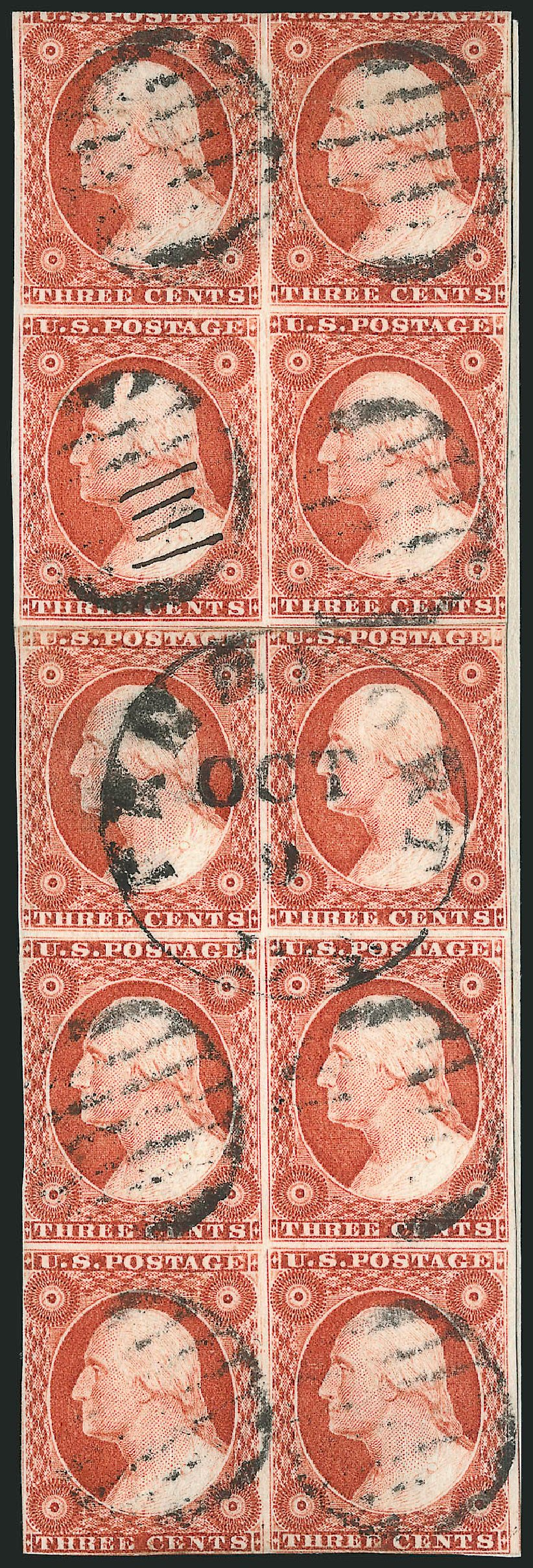 US Stamps Values Scott Cat. #10 - 1851 3c Washington. Robert Siegel Auction Galleries, Nov 2014, Sale 1084, Lot 3051