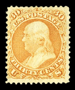 US Stamp Value Scott # 100: 1868 30c Franklin Grill. Cherrystone Auctions, Jul 2015, Sale 201507, Lot 2047