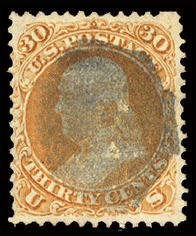 Price of US Stamp Scott Catalog #100: 30c 1868 Franklin Grill. Cherrystone Auctions, Jul 2015, Sale 201507, Lot 47