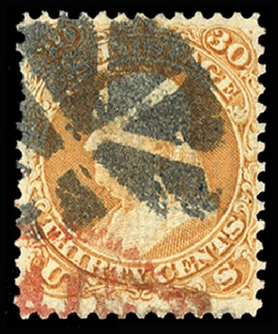 US Stamps Prices Scott Catalogue 100: 30c 1868 Franklin Grill. Cherrystone Auctions, Jul 2015, Sale 201507, Lot 48