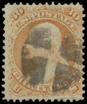 Value of US Stamps Scott Cat. #100: 1868 30c Franklin Grill. Daniel Kelleher Auctions, May 2015, Sale 669, Lot 2550