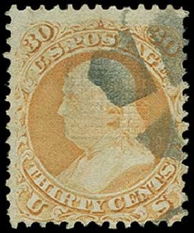 Value of US Stamp Scott Cat. 100 - 30c 1868 Franklin Grill. H.R. Harmer, Jun 2015, Sale 3007, Lot 3181