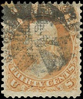 Price of US Stamps Scott Catalog #100: 30c 1868 Franklin Grill. Regency-Superior, Aug 2015, Sale 112, Lot 221
