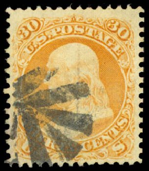 Cost of US Stamp Scott Cat. # 100: 30c 1868 Franklin Grill. Daniel Kelleher Auctions, Aug 2015, Sale 672, Lot 2314