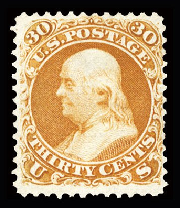 Prices of US Stamp Scott Catalogue 100 - 1868 30c Franklin Grill. Cherrystone Auctions, Jul 2015, Sale 201507, Lot 45
