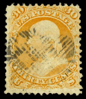 US Stamps Price Scott Catalogue #100 - 1868 30c Franklin Grill. Daniel Kelleher Auctions, Aug 2015, Sale 672, Lot 2315