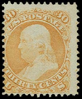 Price of US Stamps Scott Catalogue # 100 - 30c 1868 Franklin Grill. H.R. Harmer, Jun 2015, Sale 3007, Lot 3182
