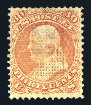 Values of US Stamps Scott Catalog 100 - 1868 30c Franklin Grill. Harmer-Schau Auction Galleries, Aug 2015, Sale 106, Lot 1453