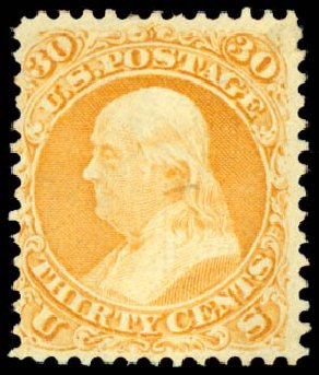 US Stamps Value Scott Cat. 100 - 30c 1868 Franklin Grill. Daniel Kelleher Auctions, Aug 2015, Sale 672, Lot 2313