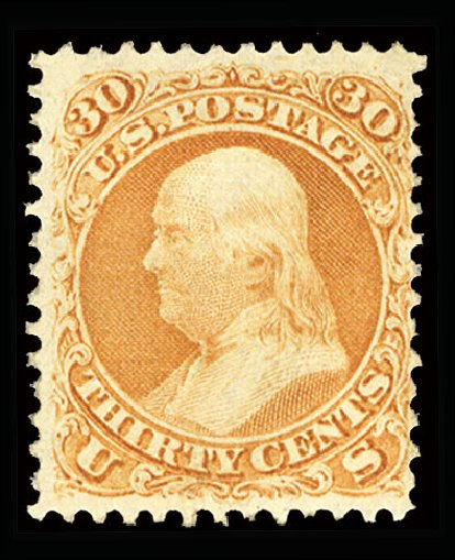 US Stamp Prices Scott Catalog # 100: 30c 1868 Franklin Grill. Cherrystone Auctions, Jul 2015, Sale 201507, Lot 46