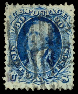 Values of US Stamp Scott Catalogue 101 - 90c 1869 Washington Grill. Daniel Kelleher Auctions, Aug 2015, Sale 672, Lot 2317