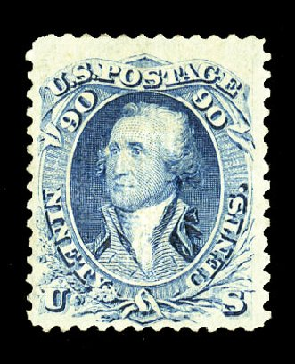 US Stamps Prices Scott Catalogue #101 - 1869 90c Washington Grill. Cherrystone Auctions, Jul 2015, Sale 201507, Lot 2048
