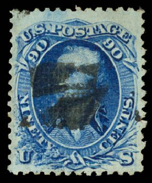 Price of US Stamps Scott 101: 90c 1869 Washington Grill. Daniel Kelleher Auctions, Aug 2015, Sale 672, Lot 2318