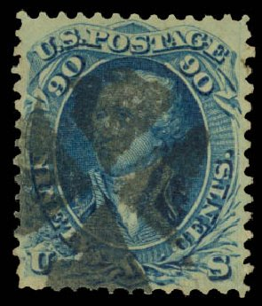 Price of US Stamps Scott Catalogue # 101 - 1869 90c Washington Grill. Daniel Kelleher Auctions, Aug 2015, Sale 672, Lot 2321