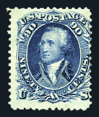 Costs of US Stamps Scott # 101: 90c 1869 Washington Grill. Harmer-Schau Auction Galleries, Aug 2015, Sale 106, Lot 1455