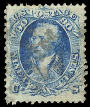 Costs of US Stamp Scott Catalogue #101: 90c 1869 Washington Grill. Daniel Kelleher Auctions, Aug 2015, Sale 672, Lot 2322