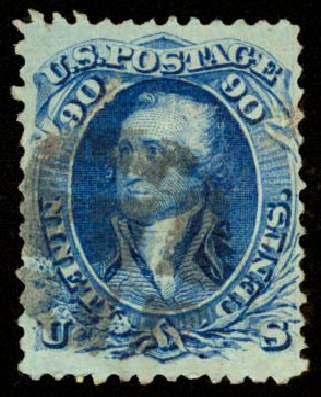 Value of US Stamp Scott Catalog 101 - 90c 1869 Washington Grill. Daniel Kelleher Auctions, Aug 2015, Sale 672, Lot 2323
