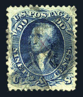 Values of US Stamp Scott Catalog #101: 90c 1869 Washington Grill. Harmer-Schau Auction Galleries, Aug 2015, Sale 106, Lot 1456