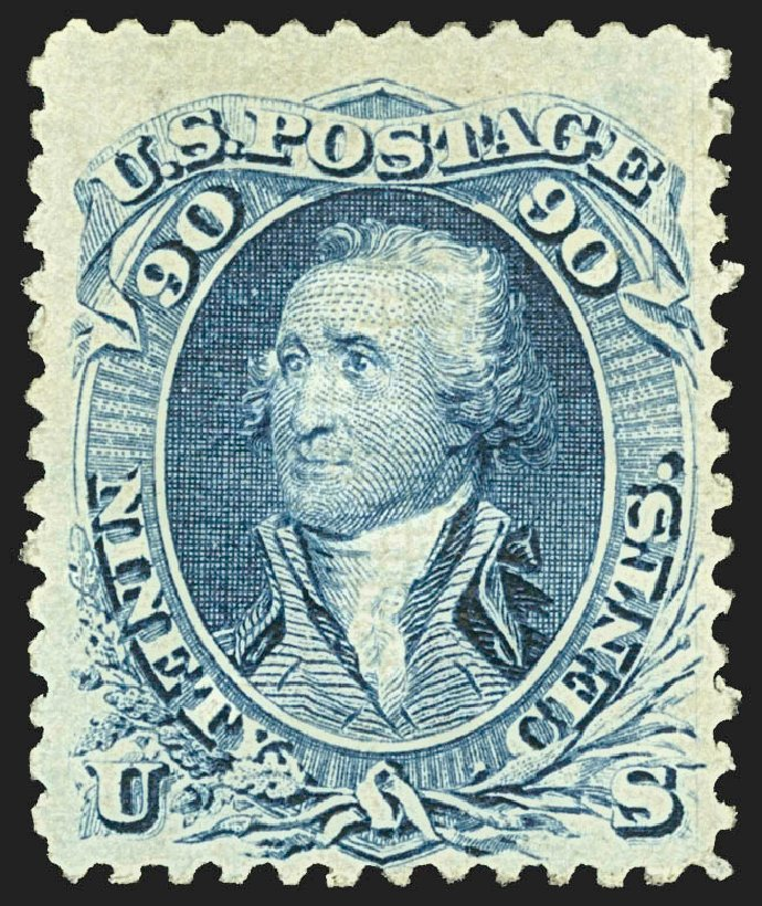 US Stamp Values Scott # 101 - 1869 90c Washington Grill. Robert Siegel Auction Galleries, Jul 2015, Sale 1107, Lot 216
