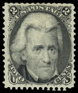 US Stamps Prices Scott Catalog 103: 2c 1875 Jackson Without Grill. Daniel Kelleher Auctions, Jan 2015, Sale 663, Lot 1330
