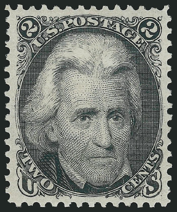 Values of US Stamp Scott Catalogue # 103: 1875 2c Jackson Without Grill. Robert Siegel Auction Galleries, Jun 2015, Sale 1100, Lot 25