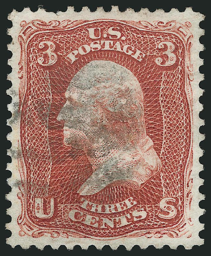 Value of US Stamps Scott Catalogue 104: 1875 3c Washington Without Grill. Robert Siegel Auction Galleries, Jun 2015, Sale 1106, Lot 3107