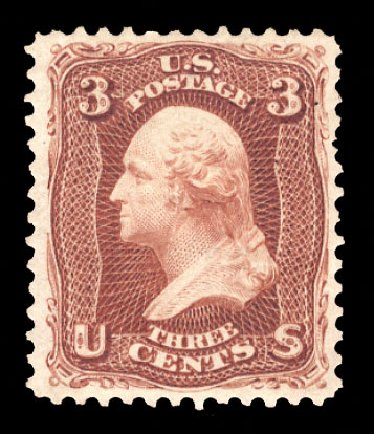 US Stamp Value Scott Catalog # 104 - 1875 3c Washington Without Grill. Cherrystone Auctions, Oct 2012, Sale 201210, Lot 78