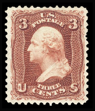 US Stamp Value Scott Catalogue # 104: 1875 3c Washington Without Grill. Cherrystone Auctions, Jan 2015, Sale 201501, Lot 139