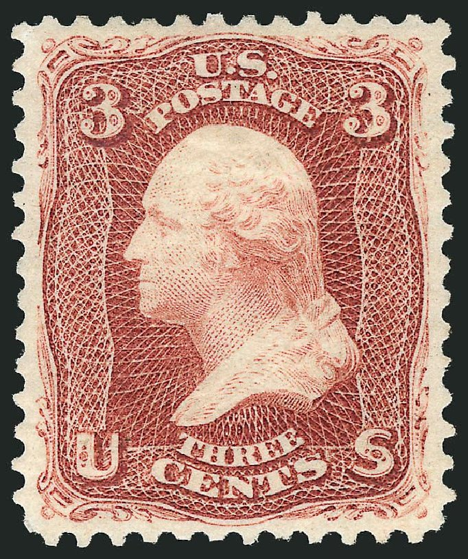 Price of US Stamps Scott #104 - 1875 3c Washington Without Grill. Robert Siegel Auction Galleries, May 2013, Sale 1044, Lot 90