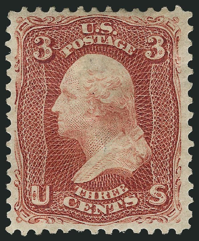 US Stamp Prices Scott Catalogue #104: 3c 1875 Washington Without Grill. Robert Siegel Auction Galleries, Nov 2013, Sale 1061, Lot 3523