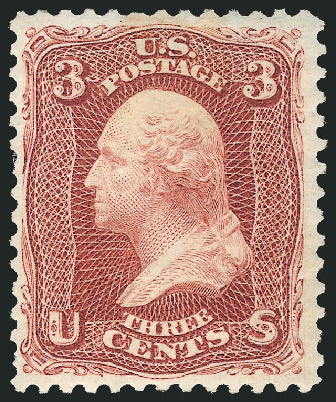Values of US Stamp Scott Catalogue #104: 1875 3c Washington Without Grill. Robert Siegel Auction Galleries, Mar 2014, Sale 1067, Lot 1093