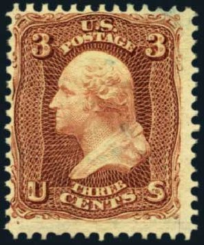 Prices of US Stamp Scott Catalogue #104: 1875 3c Washington Without Grill. Harmer-Schau Auction Galleries, Jan 2013, Sale 96, Lot 456