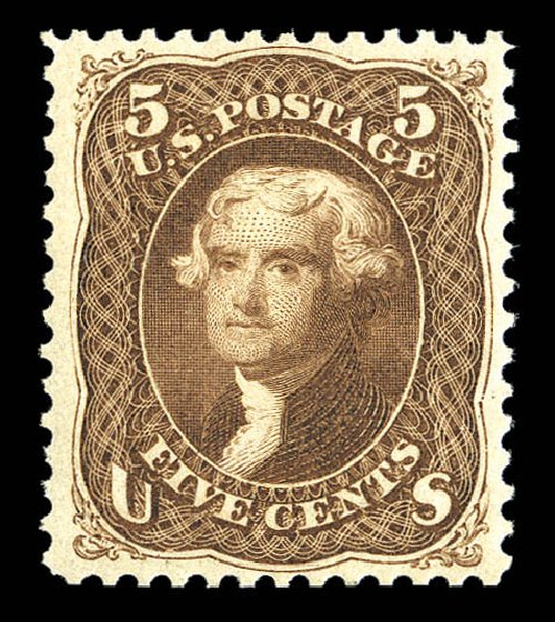 US Stamps Value Scott Catalog 105 - 1875 5c Jefferson Without Grill. Matthew Bennett International, Sep 2012, Sale 345, Lot 137