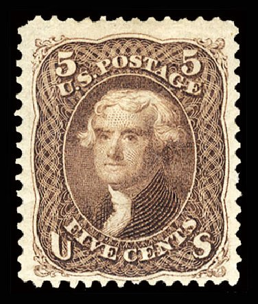 Values of US Stamps Scott Catalogue # 105: 1875 5c Jefferson Without Grill. Cherrystone Auctions, Jul 2013, Sale 201307, Lot 27