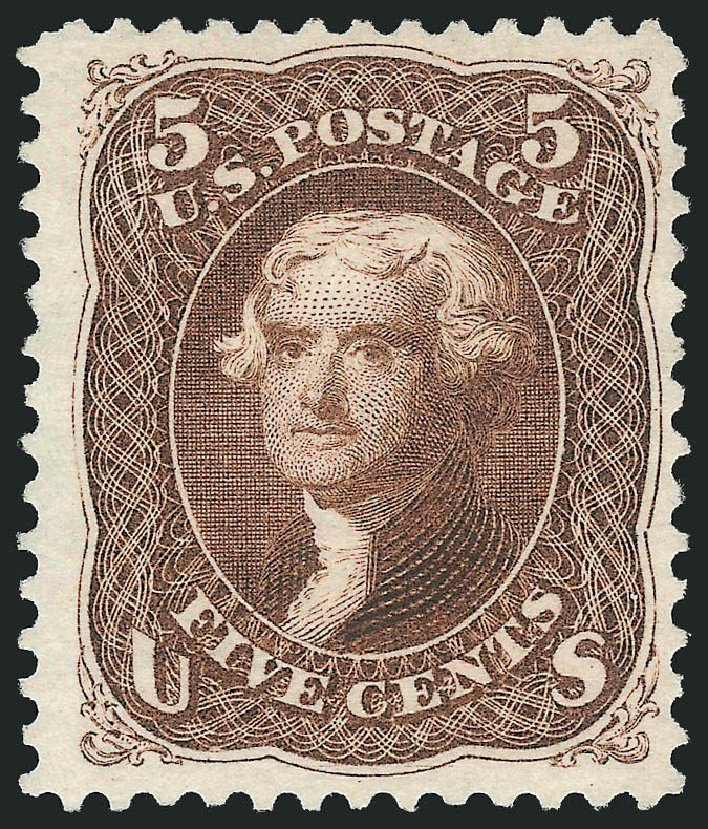 Cost of US Stamp Scott 105 - 1875 5c Jefferson Without Grill. Robert Siegel Auction Galleries, Dec 2014, Sale 1090, Lot 1247