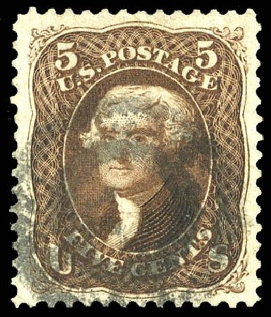 US Stamp Value Scott Cat. #105: 1875 5c Jefferson Without Grill. Matthew Bennett International, Feb 2015, Sale 351, Lot 88